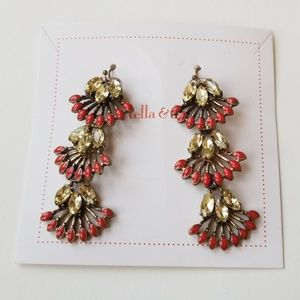 Stella and dot red and crystal dangle earings